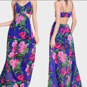 New! Floral Chiffon Ruched  Cut Out Maxi Dress